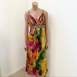 Sue Wong Multi-Color silk Maxi gown Dress 12